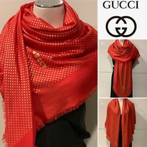"""GUCCI Modal & Cashmere Red with Gold Stars """"GUCCY"""" Shawl/Wrap 140x140cm Fringed"""