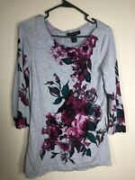 White House Black Market Women's Floral Blouse Tunic Top 3/4 Sleeve Small