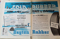 1949 Vintage Dayton Cold Rubber Two Page Tires Original Ad
