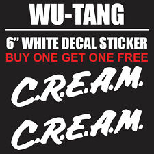 "Wu Tang Cream Street Wear 6"" White Vinyl Decal Sticker - BOGO"