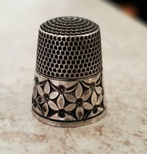 Antique Simons Bros Sterling Silver Thimble  Abstract Flowers #8