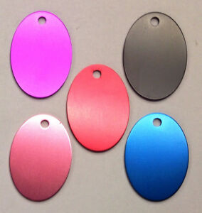 50 OVAL Pet identification tags Anodized Aluminum Blank Bulk ID Wholesale LASER