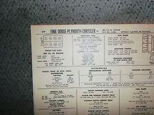 1966 Dodge Plymouth Chrysler 383 CI V8 2BBL w/oCAP SUN Tune Up Chart Great Shape