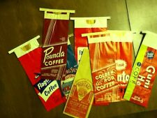 10 Different Vintage Paper Coffee Bags Color Illustrated Frameable Old PA, VA IA
