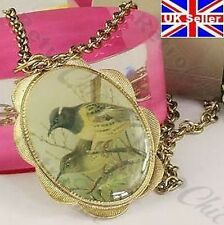 LARGE 4cm x 3cm BIRD CAMEO pendant LONG NECKLACE vintage print KITSCH gold pltd