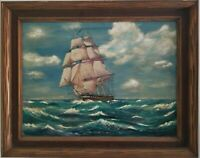 Vintage Oil on Canvas Painting Clipper Ship at Sea Sailboat Signed Hubbard