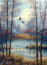 """Steve Bloom """"Meadow Pond"""" Hand Signed Numbered Serigraph Art, Canada Geese L@@K!"""
