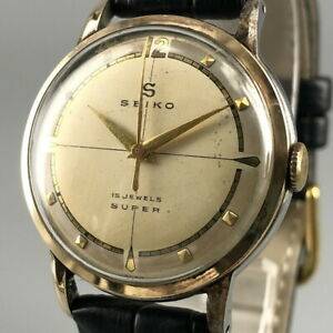 Rare Vintage SEIKO SUPER 14K Gold Filled Unique Dial Hand-winding Watch #601