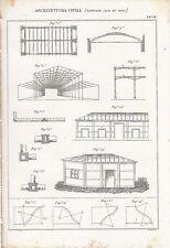 ARCHITETTURA CIVILE EDIFICARE GOLA INCISIONE STAMPA RAME 1866 TAVOLA ORIGINALE