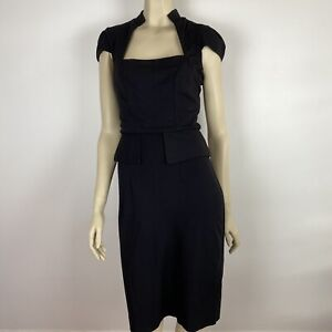 Review Women's Peplum Waist Australian Square Neck Black Dress Size 8 ~A7