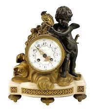 19thC A. Stowell Co. Boston Mantle Clock w/ Bronze Cherub & Marble Base