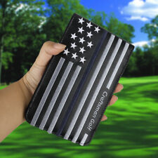 Golf Scorecard Yardage Book Holder Cover Stripe and Star Pattern Black Leather