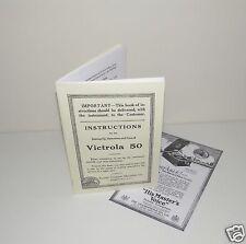 Victor Victrola 50 Portable Gramophone Phonograph  Instruction  Manual + Advert