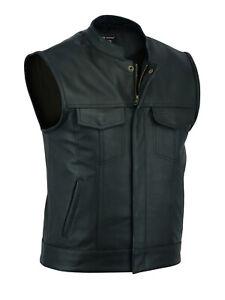 2Fit™ SOA Men's Leather Vest Anarchy Motorcycle Biker Club Prime Quality Vest