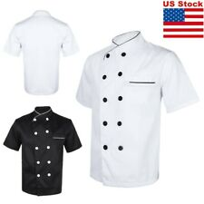 Double-Breasted Short Sleeve Chef Coat Unisex Kitchen Cooker Restaurant Uniform
