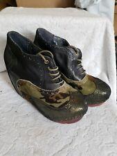 Irregular Choice Camoflauge Ankle Bootie Leather Black Gold Metallic 10 40