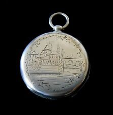 Perret Geneva Pocket Watch Silver Hand Engraved Case 1880