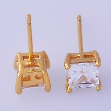 Gorgeous big 18K Gold Filled cubic zirconia womens square stud earrings
