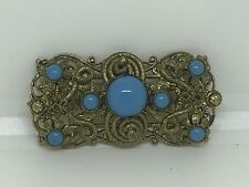 Vintage Czech Stamped Metal Filigree Brooch Turquoise Colored Glass Cabochan