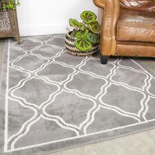 Light Grey Silver Geometric Trellis Fish Net Design Modern Living Room Floor Rug