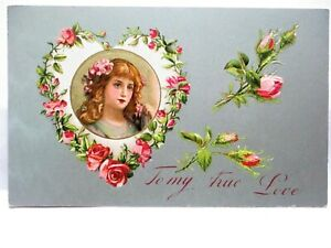 1910 POSTCARD TO MY TRUE LOVE, PORTRAIT OF GIRL IN HEART OF PINK ROSES