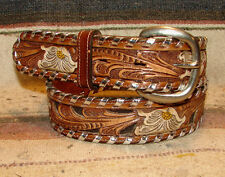 Vintage Tony Lama Whipstitch Sheridan Tooled Brown Leather Western Belt 28 New