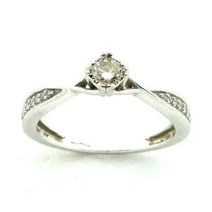 Ladies/womens 9ct 9carat white gold engagement ring set with diamonds, UK size N