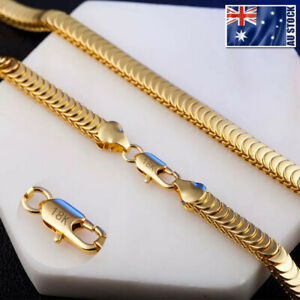 Stunning 18K Gold GP 7MM Snake Scales Chain Solid Link Necklace Mens Women Gift