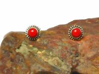 CORAL   Sterling  Silver   925  Gemstone  Earrings / STUDS  -  Gift Boxed