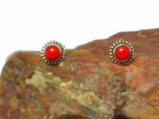Round Red  CORAL  Sterling  Silver  925 Gemstone  Stud Earrings
