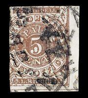 CSA POSTMASTER PROVISIONAL SCOTT #62X3 1861 5C NEW ORLEANS, LA USED SHEET MARGIN