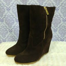 Coach Danee Suede High Wedge Boots Womens Size 6 B Lined Mid Calf Side Zip