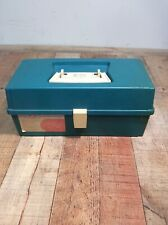 Vintage Plano Tackle Box Model 5320~Teal~2 Tray~Fishing Tackle Included!