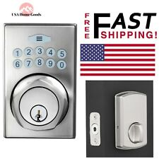 Satin Nickel Square Spin-To-Lock Electronic Deadbolt Single Cylinder Door Lock