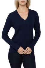 TOMMY HILFIGER Navy Cable Knit V-Neck Long Sleeve Jumper Cotton~ Size S BNWT