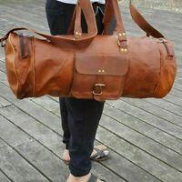 "30"" Large leather Travel Bag Duffel bag Gym sports flight cabin bag Leather NEW"