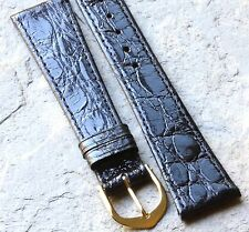 Genuine Crocodile gloss black 19mm watch strap NOS vintage European 1960s/70s