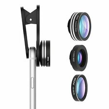 Mpow 3in1 Clip-on Camera Fish Eye Lenses 0.65X Wide Angle 10X Macro Phone Lens