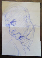 Antique Drawing Years Fifty Portrait Male Studio Sketch Original P28.5