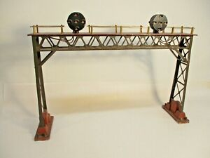 O Gauge Lionel 0440 Signal Bridge Gray Maroon TC Brass Prewar X7529