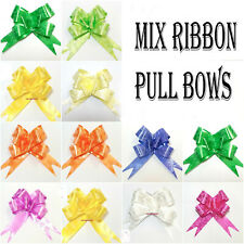 NICE 50 LARGE 30 mm Easy Pull Flower Ribbon Bow Assorted Mix colours decoration