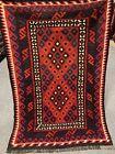 3x4.6 Ft Handmade vintage Uzbek Maimana Vegetable Dye Natural Colors Wool Kellim