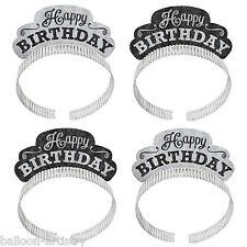 12 Classic Black & White Happy Birthday Party Glitter Sparkle Tiara Headbands