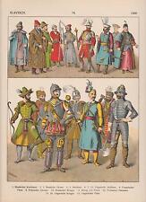 Slawen Ungarn Russen Mode Trachten um 1500 Krieger LITHOGRAPHIE von 1882