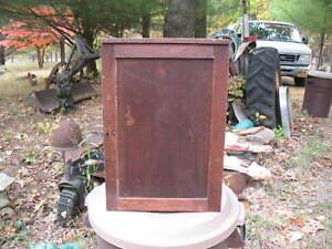 Antique Primitive Walnut Hanging Wall Cabinet Dovetailed Shelves With Lock & Key