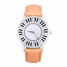 Modern dames piano toetsenbord horloge oranje, extra batterij cadeau, Nieuw -1