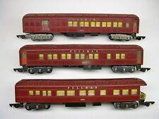 Set of 3 American Flyer Red Heavyweight Pullman Passenger Cars [Lot VV10-P75]
