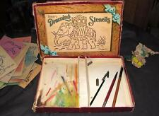 ANTIQUE 1920'S  CRAFT SET, IOB Spears Drawing Stencils W 29 STENCILS, PENS NIBS