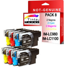8 COMPATIBLES BROTHER LC1100BK LC980BK LC1100 LC980 C M Y CYAN MAGENTA YELLOW