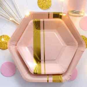 Princess Baby Shower Pink & Gold PAPER PLATES CUPS STRAWS SET  55 pcs
